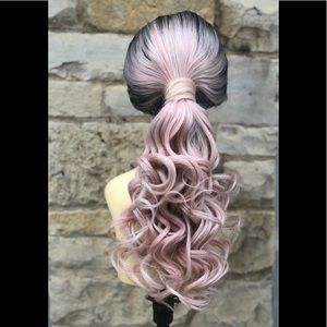 "Accessories - ""Heidi"" Ponytail wig Pink Curly Wig pony 2020"